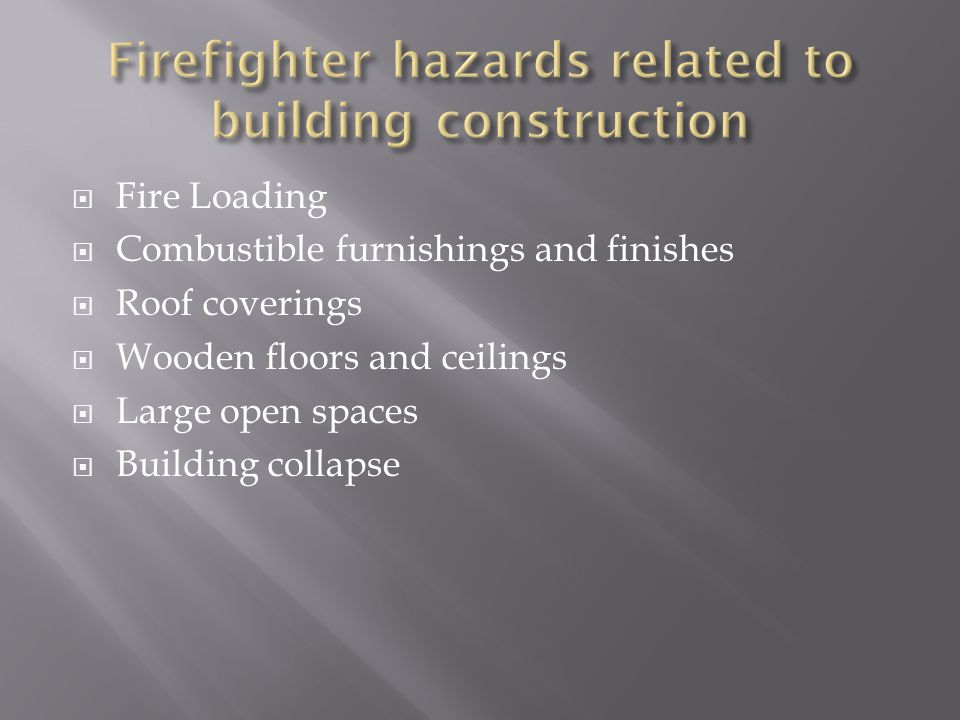 Fire Loading Combustible furnishings and finishes Roof coverings Wooden floors and ceilings Large open spaces Building collapse