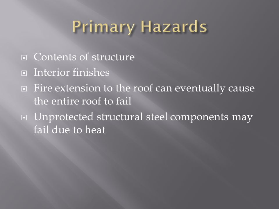 Contents of structure Interior finishes Fire extension to the roof can eventually cause the entire roof to fail Unprotected structural steel component