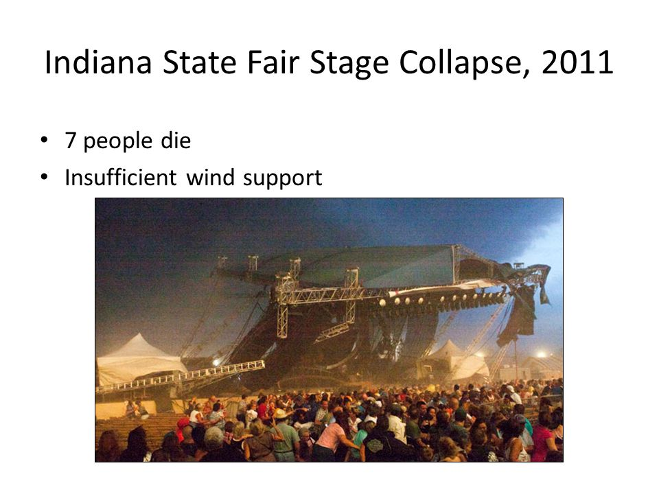 20 Indiana State Fair Stage Collapse, 2011 7 people die Insufficient wind support