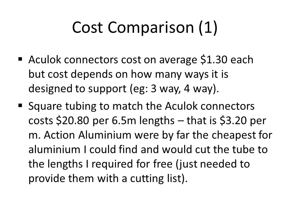 Cost Comparison (1) Aculok connectors cost on average $1.30 each but cost depends on how many ways it is designed to support (eg: 3 way, 4 way).