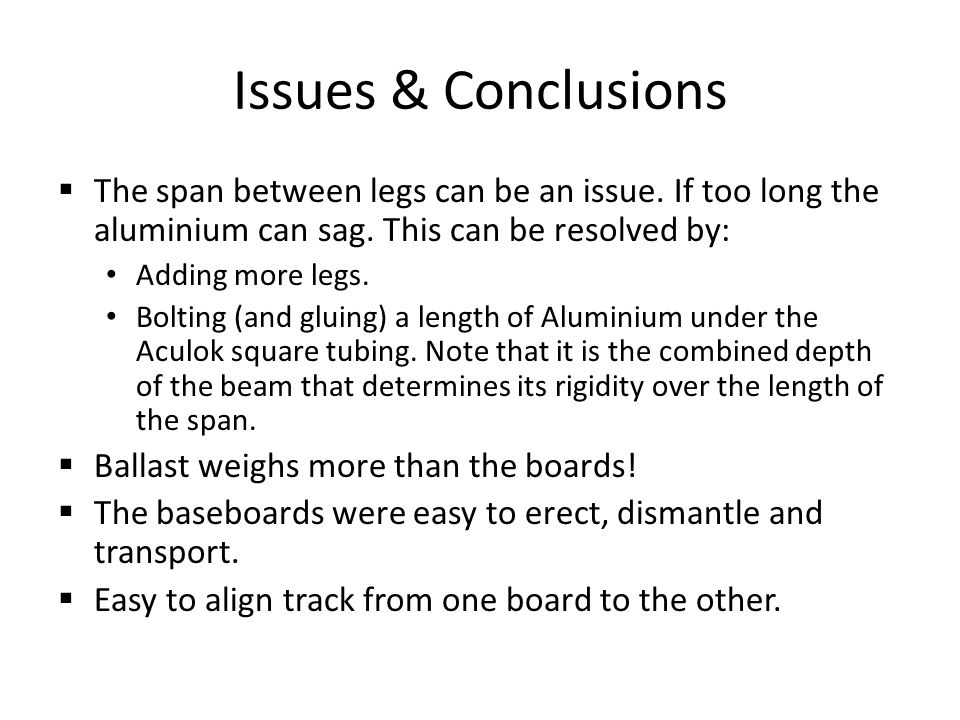 Issues & Conclusions The span between legs can be an issue.