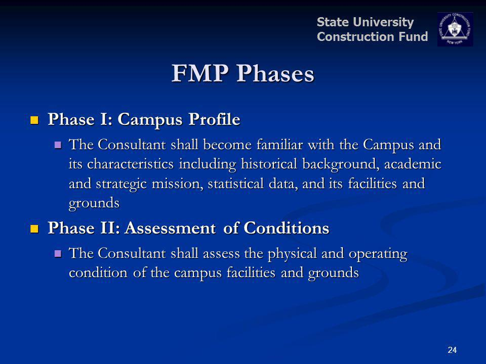State University Construction Fund FMP Phases Phase I: Campus Profile Phase I: Campus Profile The Consultant shall become familiar with the Campus and