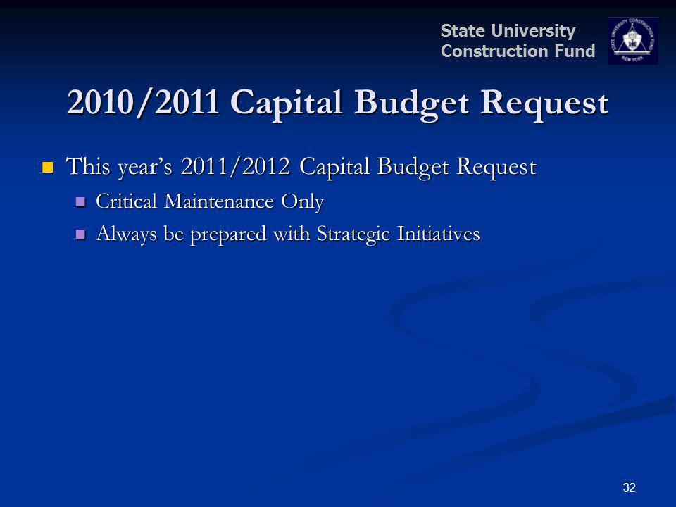 State University Construction Fund 2010/2011 Capital Budget Request This years 2011/2012 Capital Budget Request This years 2011/2012 Capital Budget Re