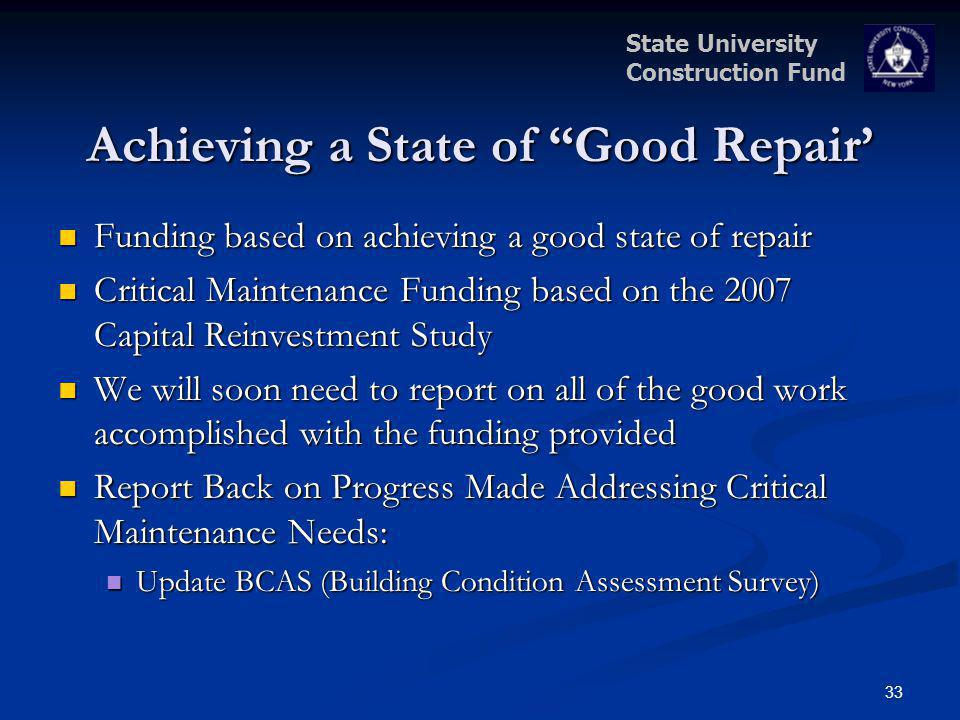 State University Construction Fund Achieving a State of Good Repair Funding based on achieving a good state of repair Funding based on achieving a goo