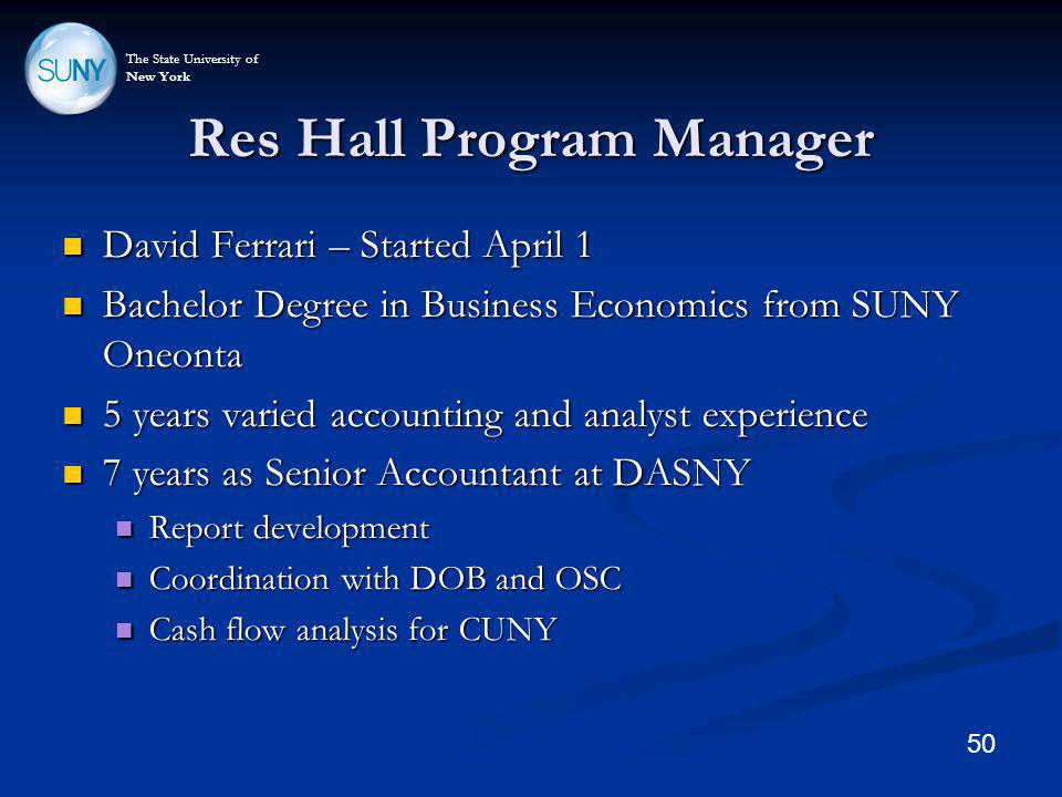 The State University of New York Res Hall Program Manager David Ferrari – Started April 1 David Ferrari – Started April 1 Bachelor Degree in Business