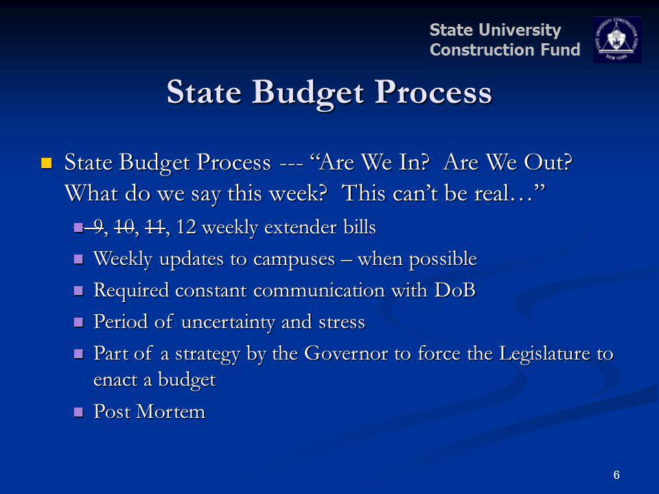 State University Construction Fund 6 State Budget Process State Budget Process --- Are We In? Are We Out? What do we say this week? This cant be real…