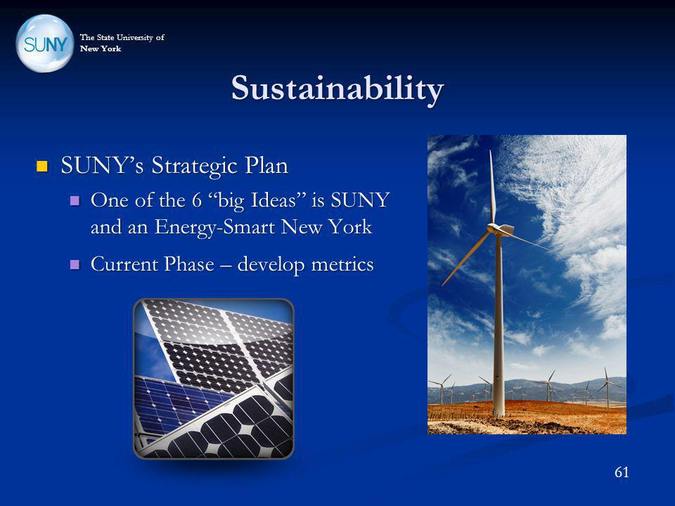 The State University of New York Sustainability 61 SUNYs Strategic Plan SUNYs Strategic Plan One of the 6 big Ideas is SUNY and an Energy-Smart New Yo