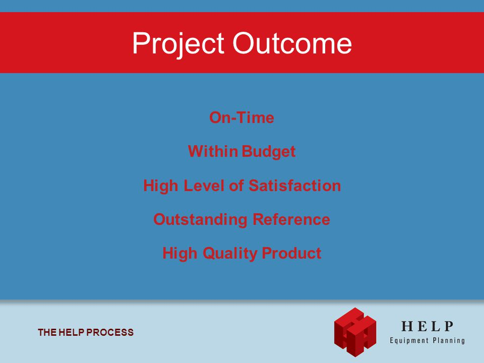 THE HELP PROCESS On-Time Within Budget High Level of Satisfaction Outstanding Reference High Quality Product Project Outcome