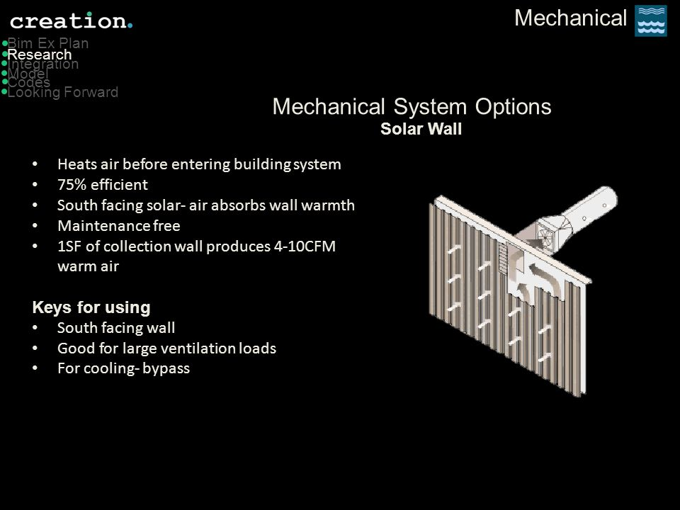 Mechanical Model Bim Ex Plan Integration Codes Looking Forward Research Mechanical System Options Advantages Less initial cost Good controllability Simultaneous heating and cooling Good for larger buildings Disadvantages Requires boiler & cooling tower Can leak humidity indoors while unit is off Does not address latent load effectively Water Source Heat Pump