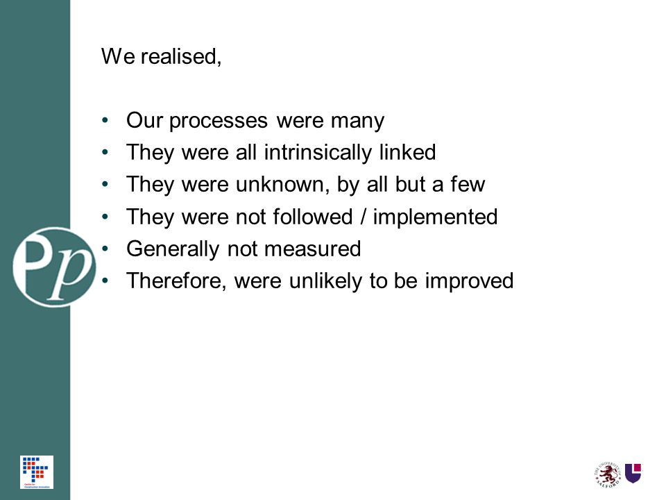 We realised, Our processes were many They were all intrinsically linked They were unknown, by all but a few They were not followed / implemented Gener