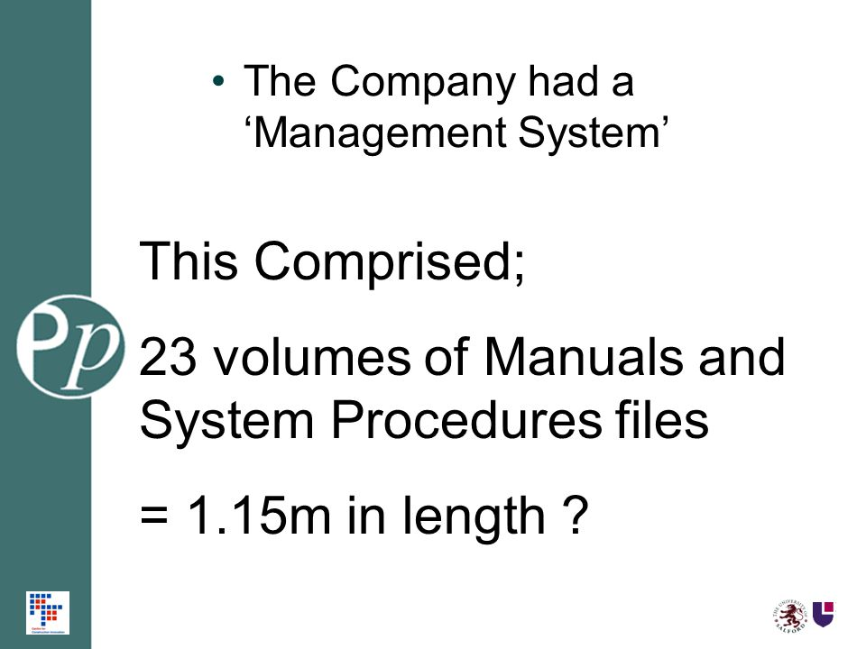 The Company had a Management System This Comprised; 23 volumes of Manuals and System Procedures files = 1.15m in length ?