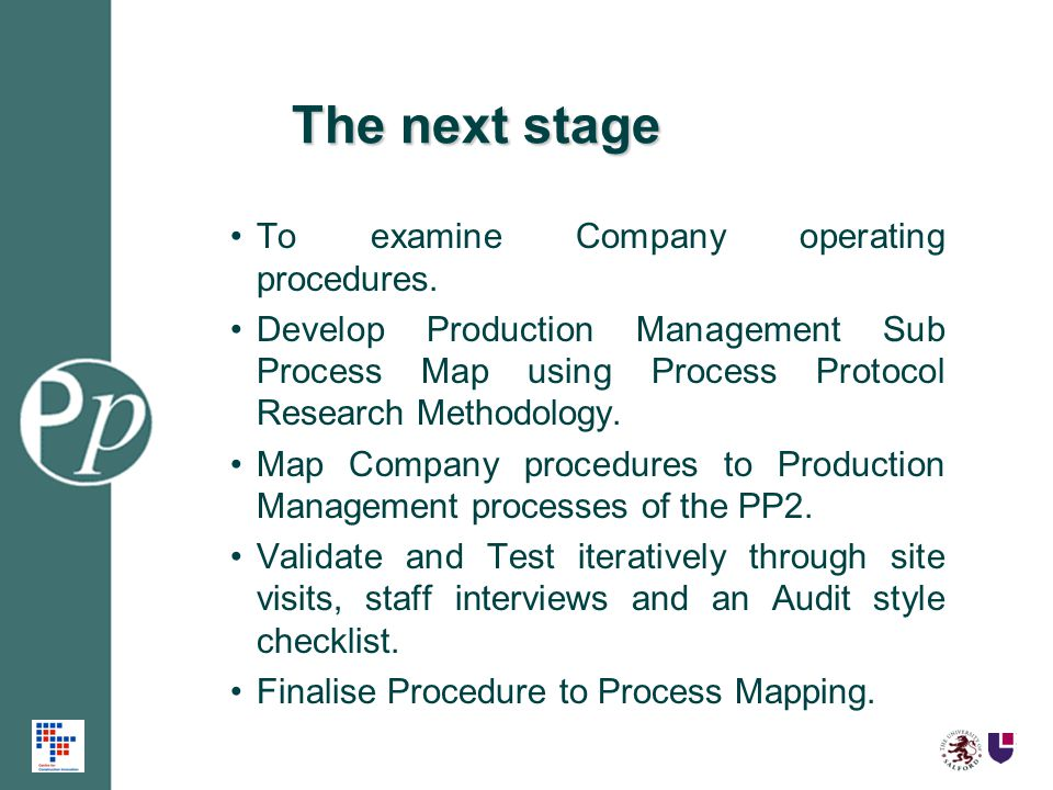 The next stage To examine Company operating procedures. Develop Production Management Sub Process Map using Process Protocol Research Methodology. Map