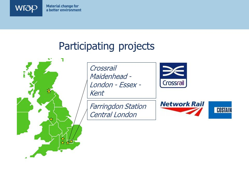 Participating projects Farringdon Station Central London Crossrail Maidenhead - London - Essex - Kent
