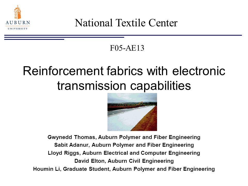 Reinforcement fabrics with electronic transmission capabilities Gwynedd Thomas, Auburn Polymer and Fiber Engineering Sabit Adanur, Auburn Polymer and