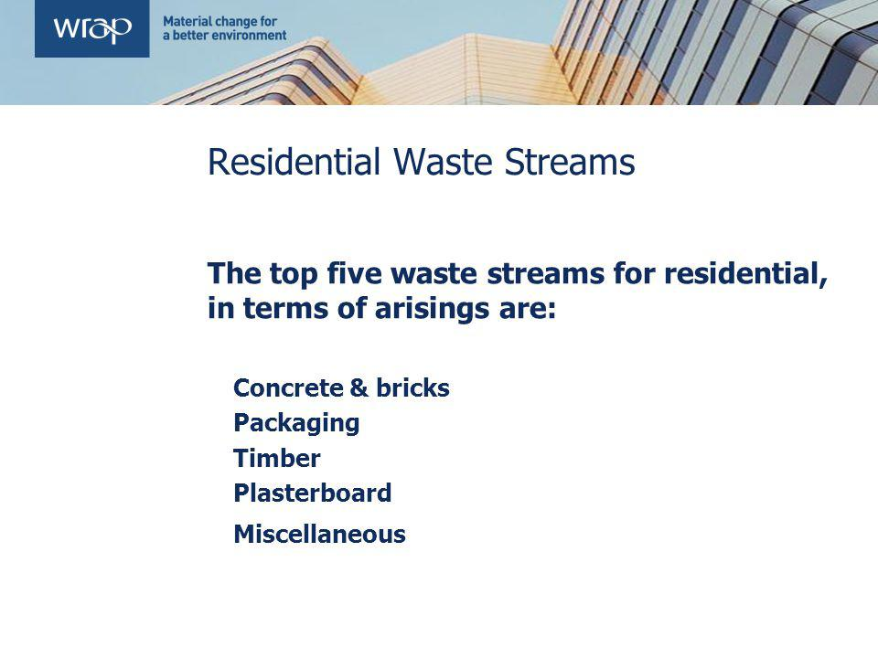 Residential Waste Streams The top five waste streams for residential, in terms of arisings are: Concrete & bricks Packaging Timber Plasterboard Miscellaneous