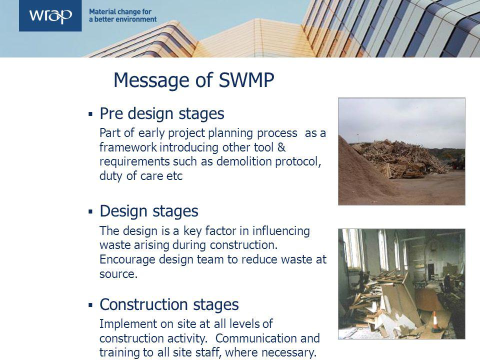 Message of SWMP Pre design stages Part of early project planning process as a framework introducing other tool & requirements such as demolition proto
