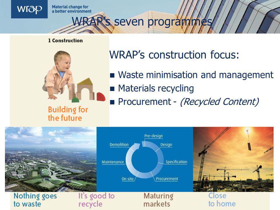 WRAPs seven programmes WRAPs construction focus: Waste minimisation and management Materials recycling Procurement - (Recycled Content)