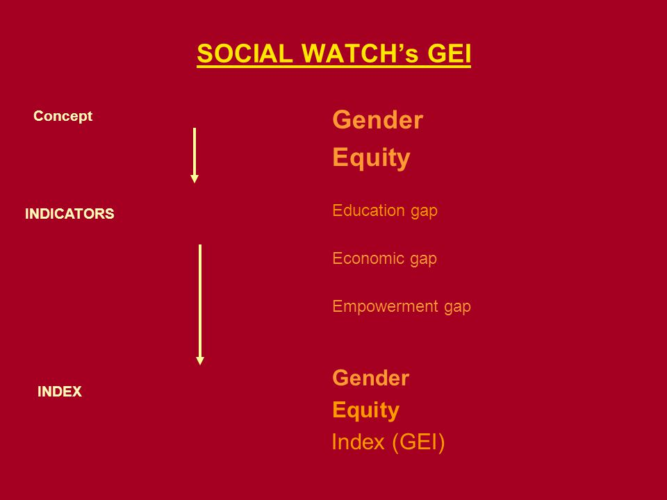SOCIAL WATCHs GEI Gender Equity Education gap Economic gap Empowerment gap Gender Equity Index (GEI) Concept INDICATORS INDEX