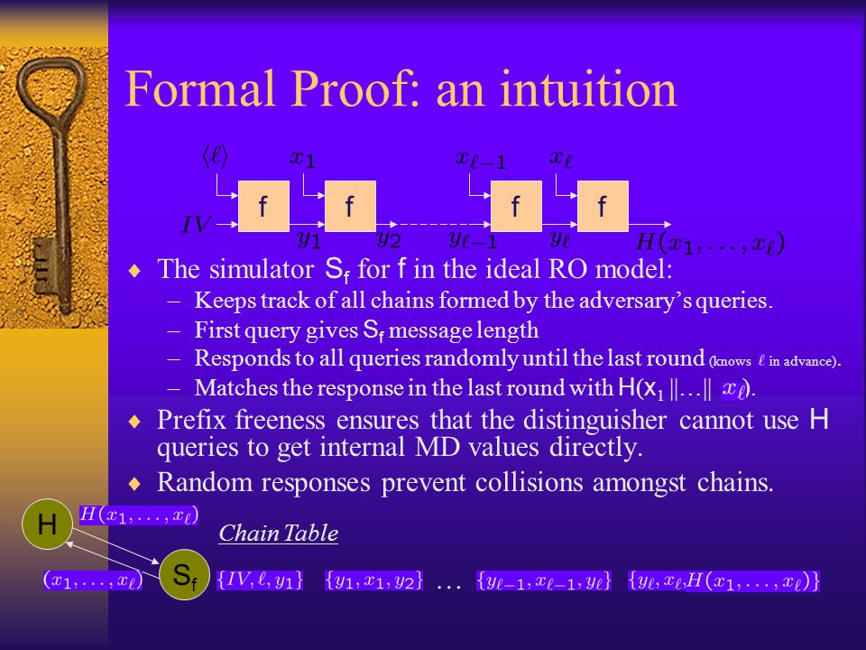 Formal Proof: an intuition The simulator S f for f in the ideal RO model: –Keeps track of all chains formed by the adversarys queries. –First query gi