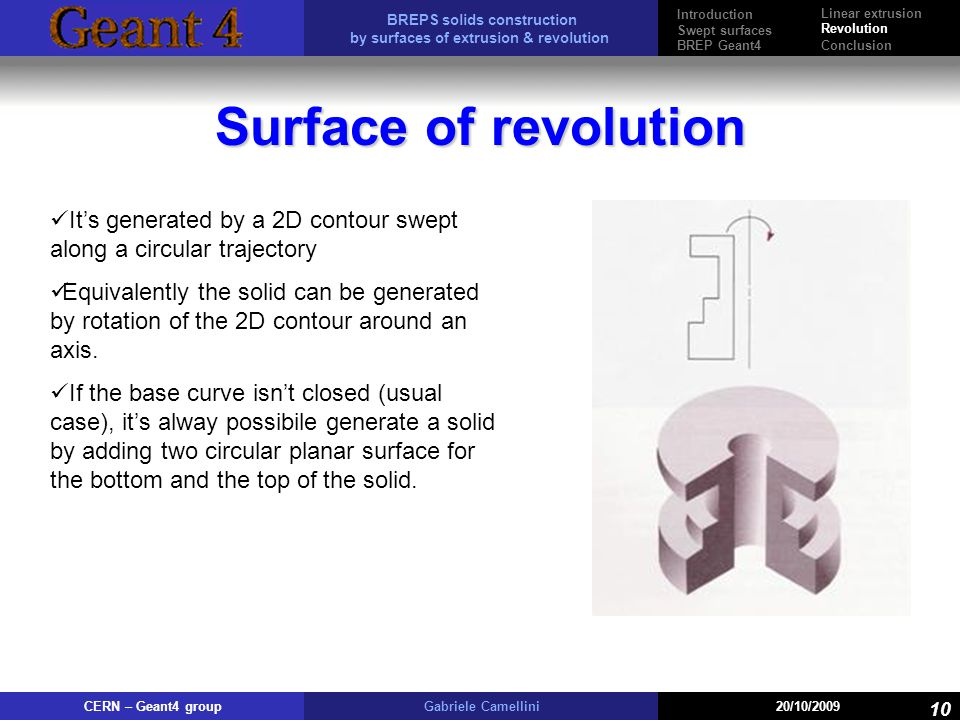 BREPS solids construction by surfaces of extrusion & revolution CERN – Geant4 groupGabriele Camellini20/10/2009 10 Surface of revolution Its generated