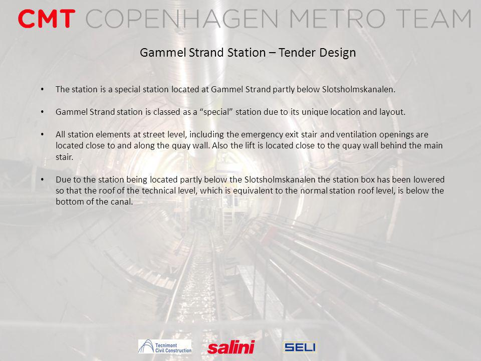 Gammel Strand Station – Tender Design The station is a special station located at Gammel Strand partly below Slotsholmskanalen. Gammel Strand station