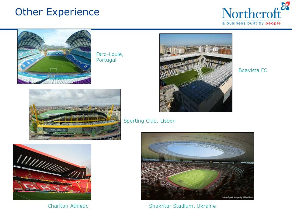 Other Experience Faro-Loule, Portugal Boavista FC Sporting Club, Lisbon Shakhtar Stadium, UkraineCharlton Athletic