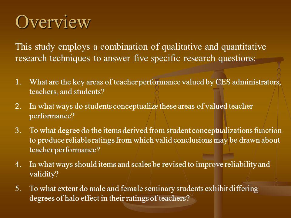 Overview 1.What are the key areas of teacher performance valued by CES administrators, teachers, and students.