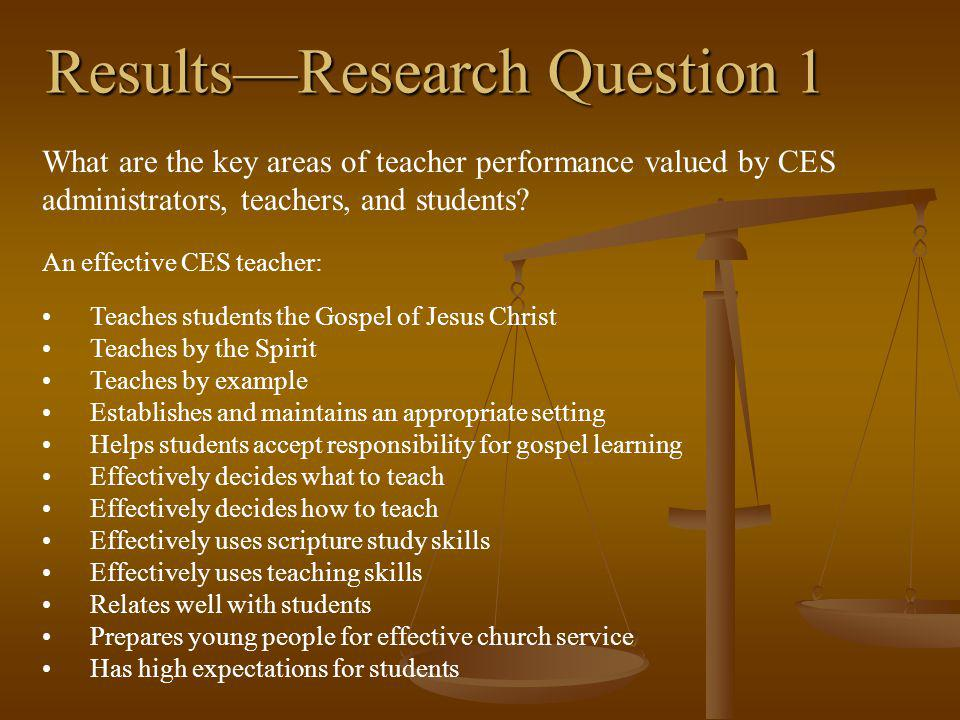ResultsResearch Question 1 What are the key areas of teacher performance valued by CES administrators, teachers, and students.
