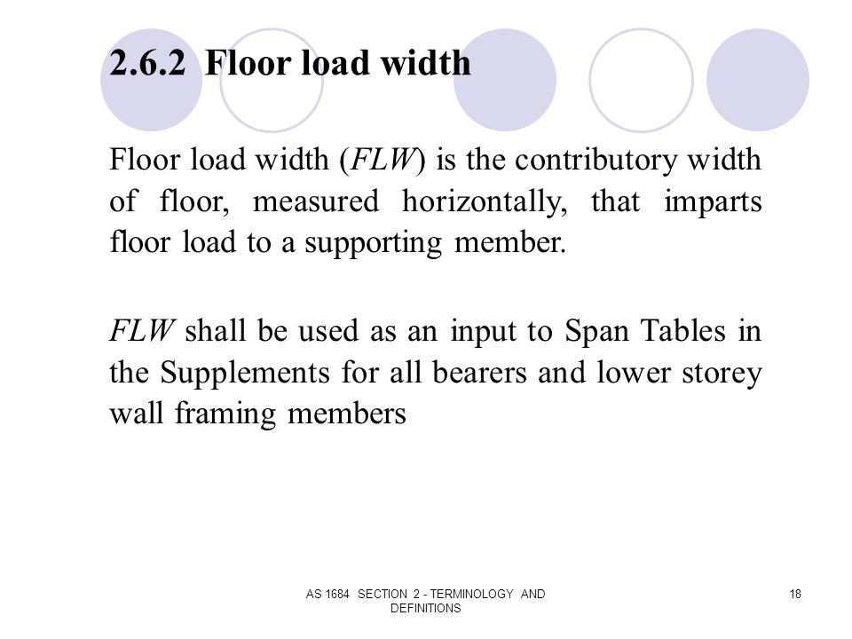 AS 1684 SECTION 2 - TERMINOLOGY AND DEFINITIONS 18 2.6.2 Floor load width Floor load width (FLW) is the contributory width of floor, measured horizont