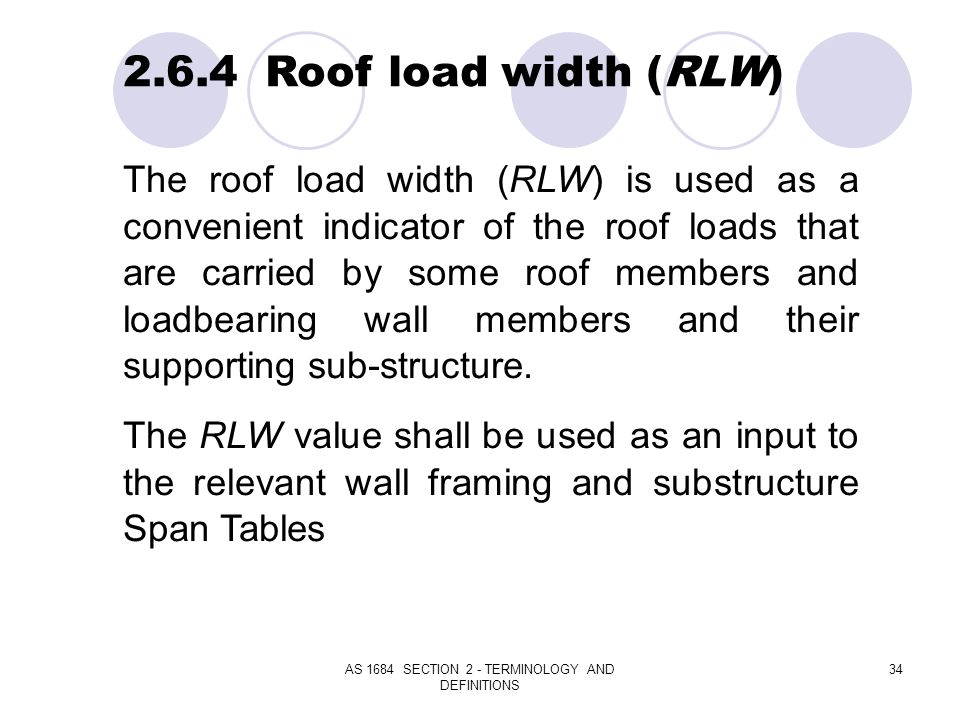 AS 1684 SECTION 2 - TERMINOLOGY AND DEFINITIONS 34 2.6.4 Roof load width (RLW) The roof load width (RLW) is used as a convenient indicator of the roof