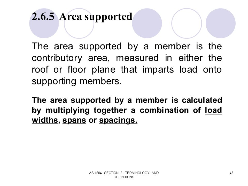 AS 1684 SECTION 2 - TERMINOLOGY AND DEFINITIONS 43 2.6.5 Area supported The area supported by a member is the contributory area, measured in either th