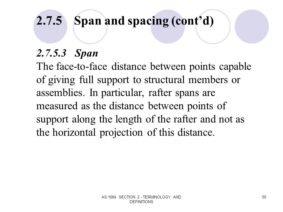 AS 1684 SECTION 2 - TERMINOLOGY AND DEFINITIONS 59 2.7.5 Span and spacing (contd) 2.7.5.3 Span The face-to-face distance between points capable of giv