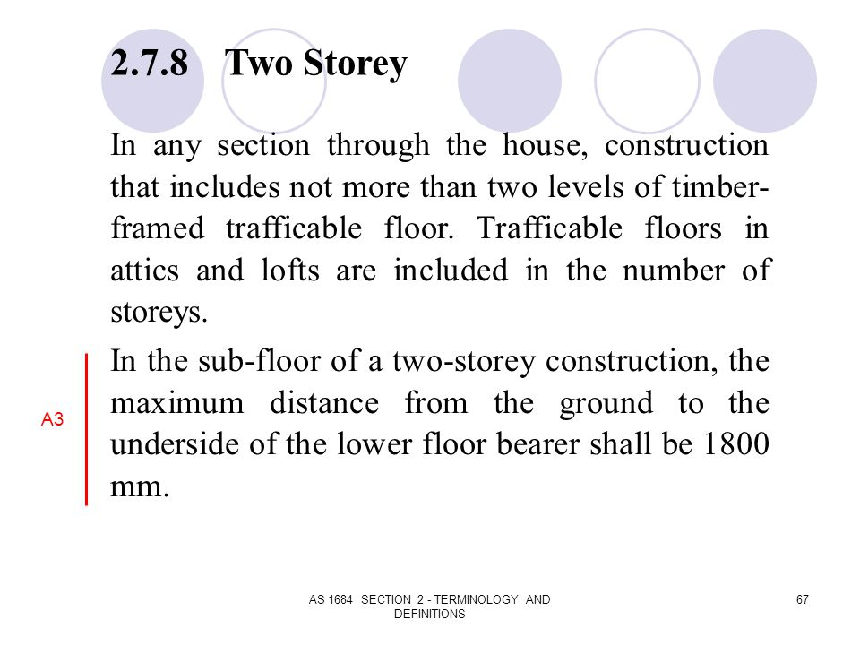 AS 1684 SECTION 2 - TERMINOLOGY AND DEFINITIONS 67 2.7.8 Two Storey In any section through the house, construction that includes not more than two lev