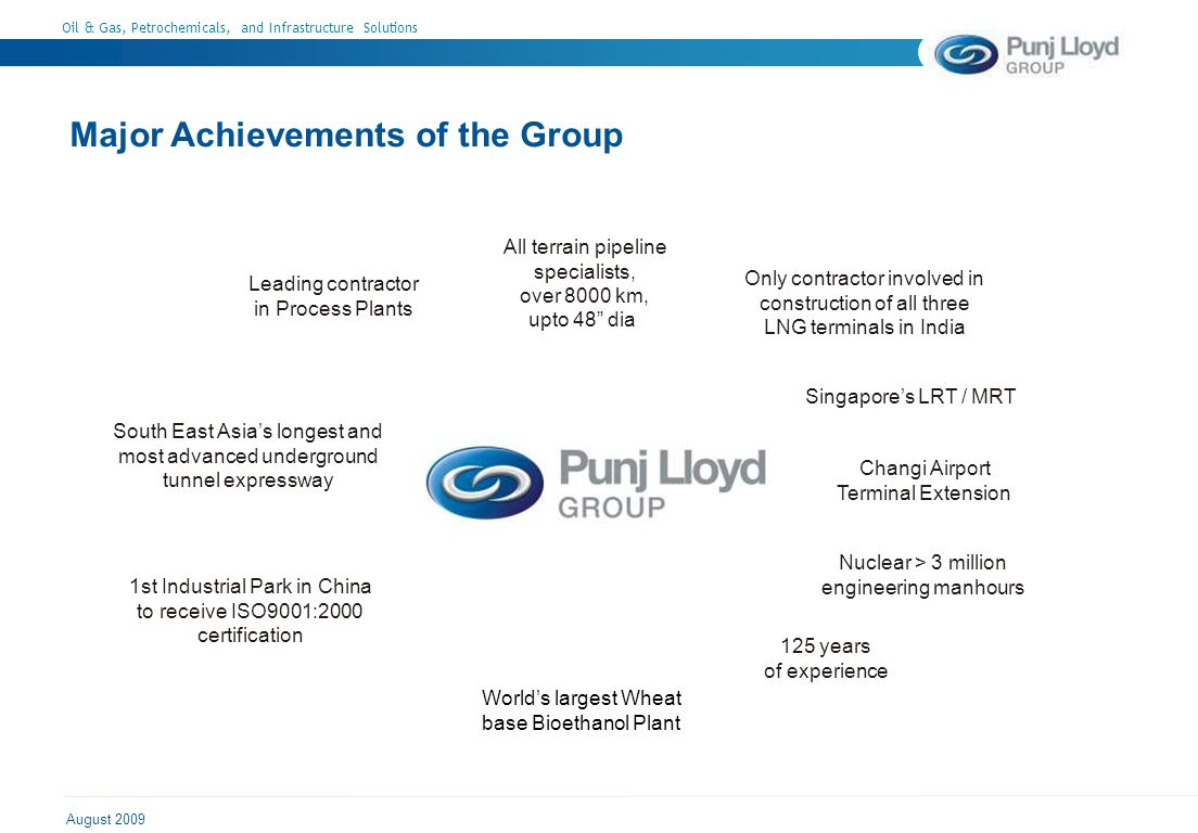 Oil & Gas, Petrochemicals, and Infrastructure Solutions August 2009 Major Achievements of the Group All terrain pipeline specialists, over 8000 km, upto 48 dia Leading contractor in Process Plants South East Asias longest and most advanced underground tunnel expressway 1st Industrial Park in China to receive ISO9001:2000 certification 125 years of experience Only contractor involved in construction of all three LNG terminals in India Singapores LRT / MRT Changi Airport Terminal Extension Nuclear > 3 million engineering manhours Worlds largest Wheat base Bioethanol Plant