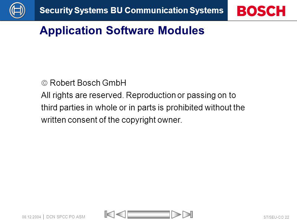 Security Systems BU Communication Systems ST/SEU-CO 22 DCN SPCC PO ASM 08.12.2004 Application Software Modules End of section Robert Bosch GmbH All ri