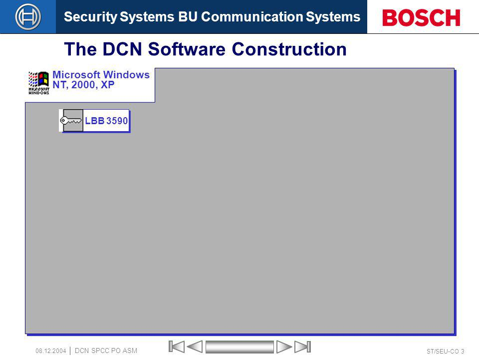 Security Systems BU Communication Systems ST/SEU-CO 3 DCN SPCC PO ASM 08.12.2004 The DCN Software Construction LBB 3590 Microsoft Windows NT, 2000, XP