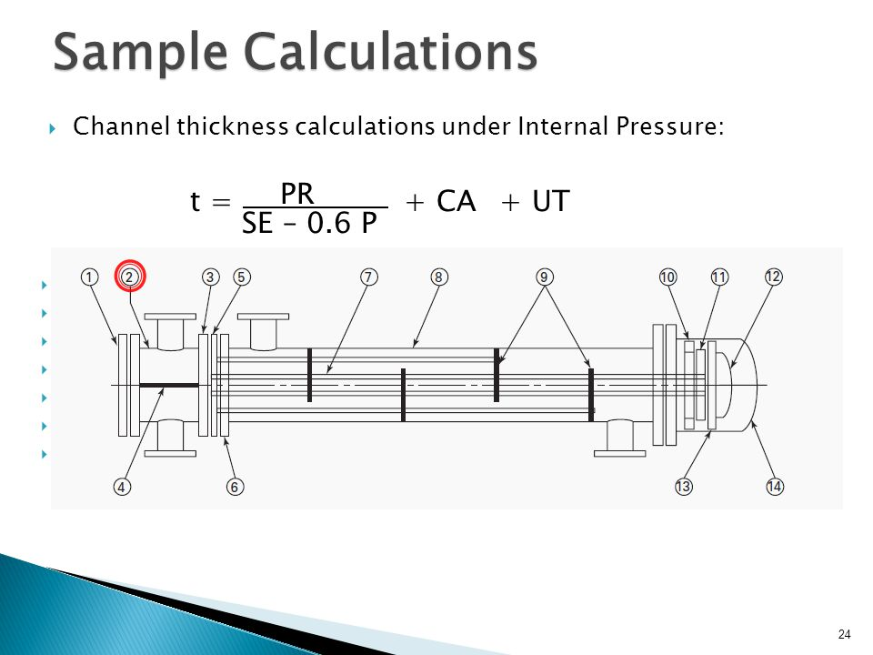 Sample Calculations Channel thickness calculations under Internal Pressure: t : Min. Required Channel Thickness P : Design Pressure of Tube Side S: Ma