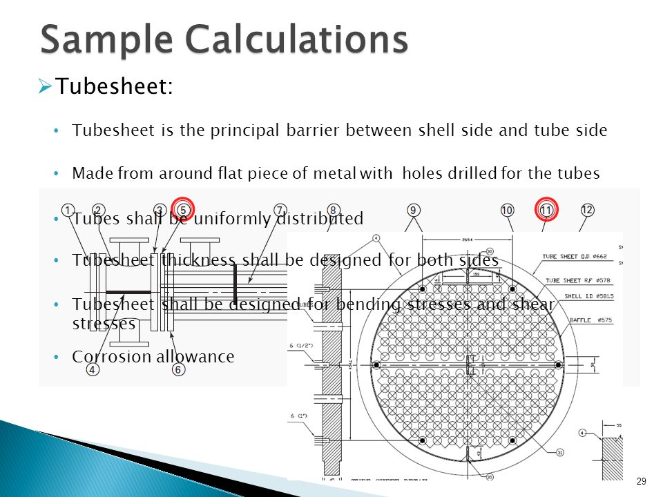 29 Sample Calculations Tubesheet: Tubesheet is the principal barrier between shell side and tube side Tubes shall be uniformly distributed Tubesheet t
