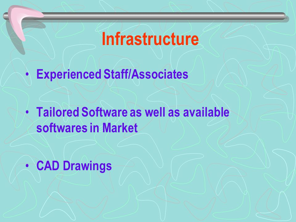 Infrastructure Experienced Staff/Associates Tailored Software as well as available softwares in Market CAD Drawings