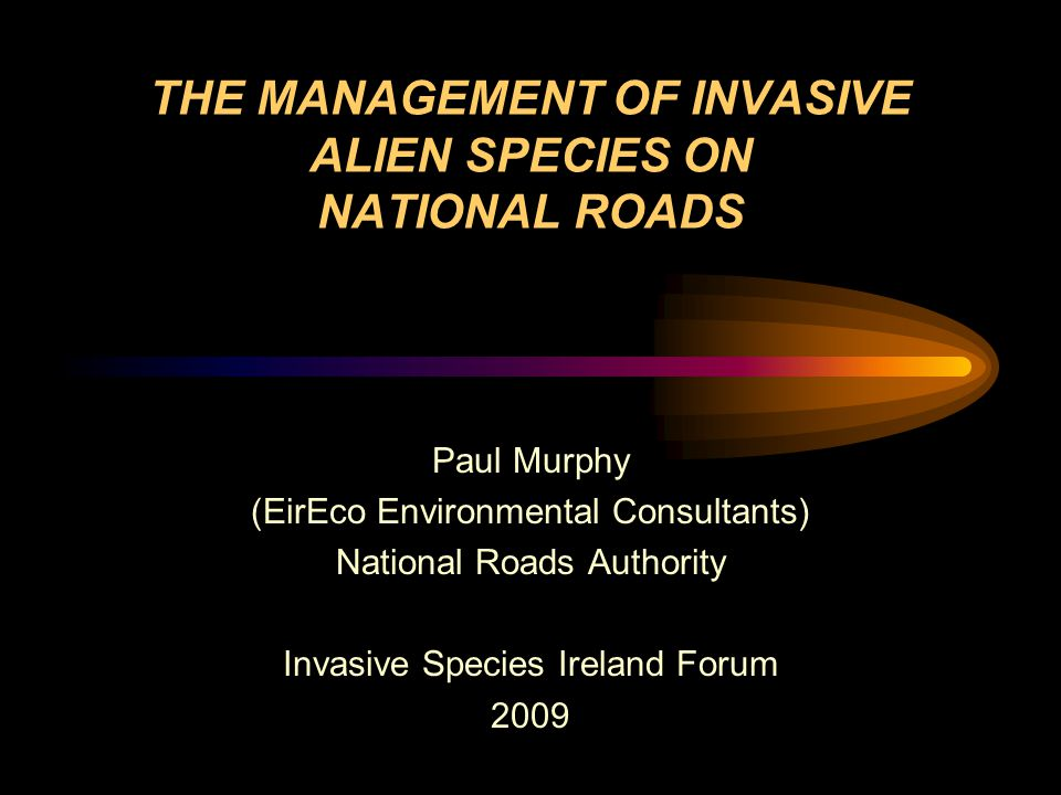 THE MANAGEMENT OF INVASIVE ALIEN SPECIES ON NATIONAL ROADS Paul Murphy (EirEco Environmental Consultants) National Roads Authority Invasive Species Ireland Forum 2009
