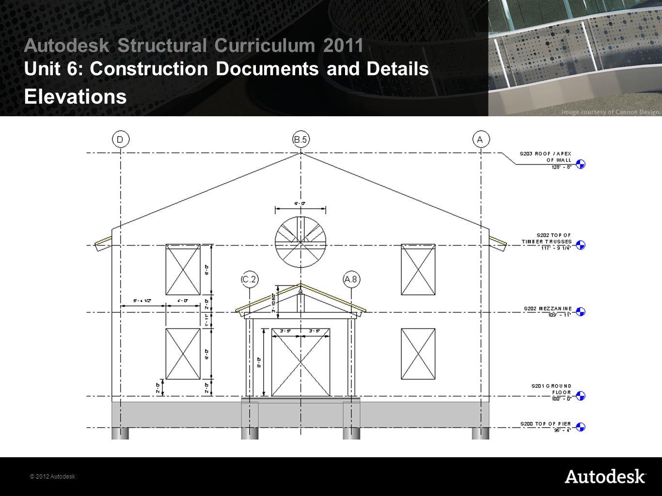 © 2012 Autodesk Autodesk Structural Curriculum 2011 Unit 6: Construction Documents and Details Elevations