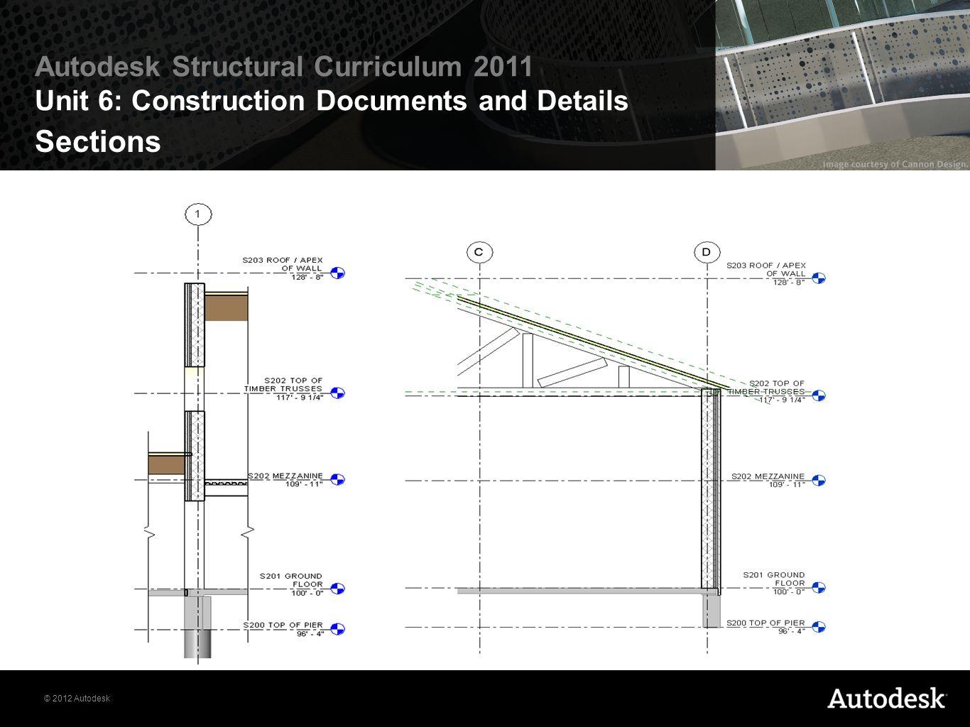 © 2012 Autodesk Autodesk Structural Curriculum 2011 Unit 6: Construction Documents and Details Sections