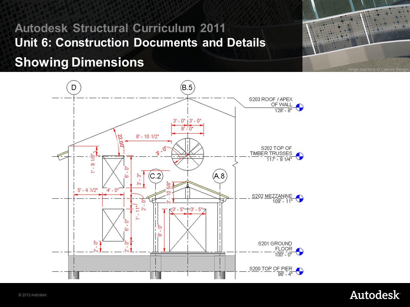 © 2012 Autodesk Autodesk Structural Curriculum 2011 Unit 6: Construction Documents and Details Showing Dimensions