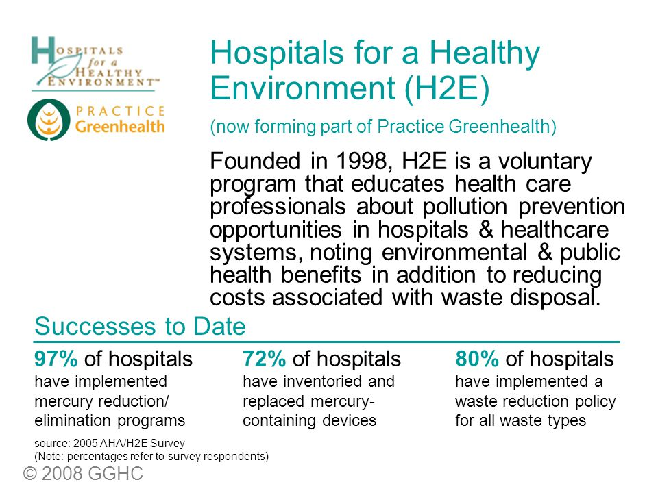 © 2008 GGHC Hospitals for a Healthy Environment (H2E) (now forming part of Practice Greenhealth) Founded in 1998, H2E is a voluntary program that educates health care professionals about pollution prevention opportunities in hospitals & healthcare systems, noting environmental & public health benefits in addition to reducing costs associated with waste disposal.