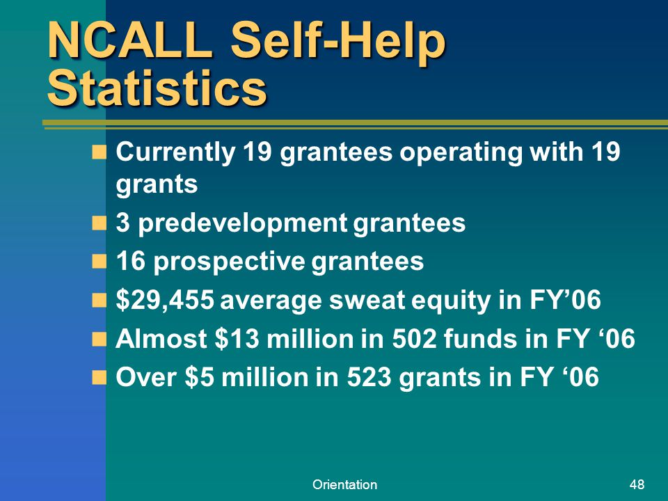 Orientation48 NCALL Self-Help Statistics Currently 19 grantees operating with 19 grants 3 predevelopment grantees 16 prospective grantees $29,455 aver