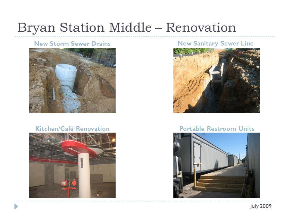Bryan Station Middle – Renovation New Storm Sewer Drains New Sanitary Sewer Line July 2009 Kitchen/Café RenovationPortable Restroom Units