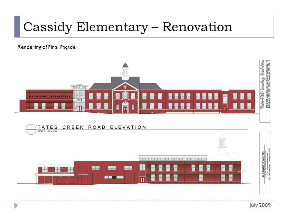 Cassidy Elementary – Renovation Work Completed in Last 30 Days: Asphalt removal at Stage Addition complete.