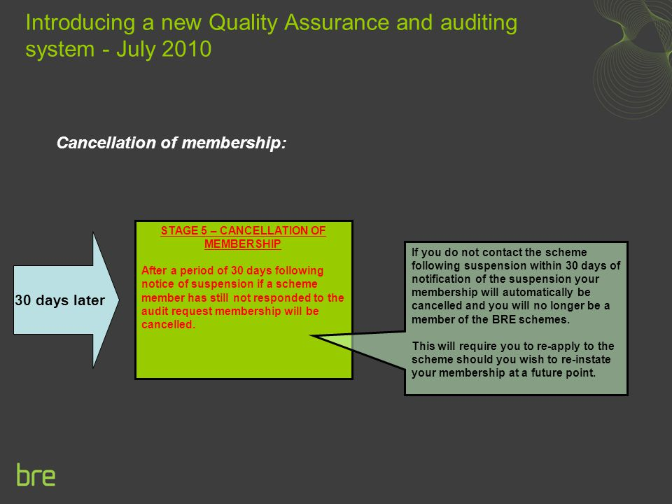 Cancellation of membership: Introducing a new Quality Assurance and auditing system - July 2010 STAGE 5 – CANCELLATION OF MEMBERSHIP After a period of 30 days following notice of suspension if a scheme member has still not responded to the audit request membership will be cancelled.