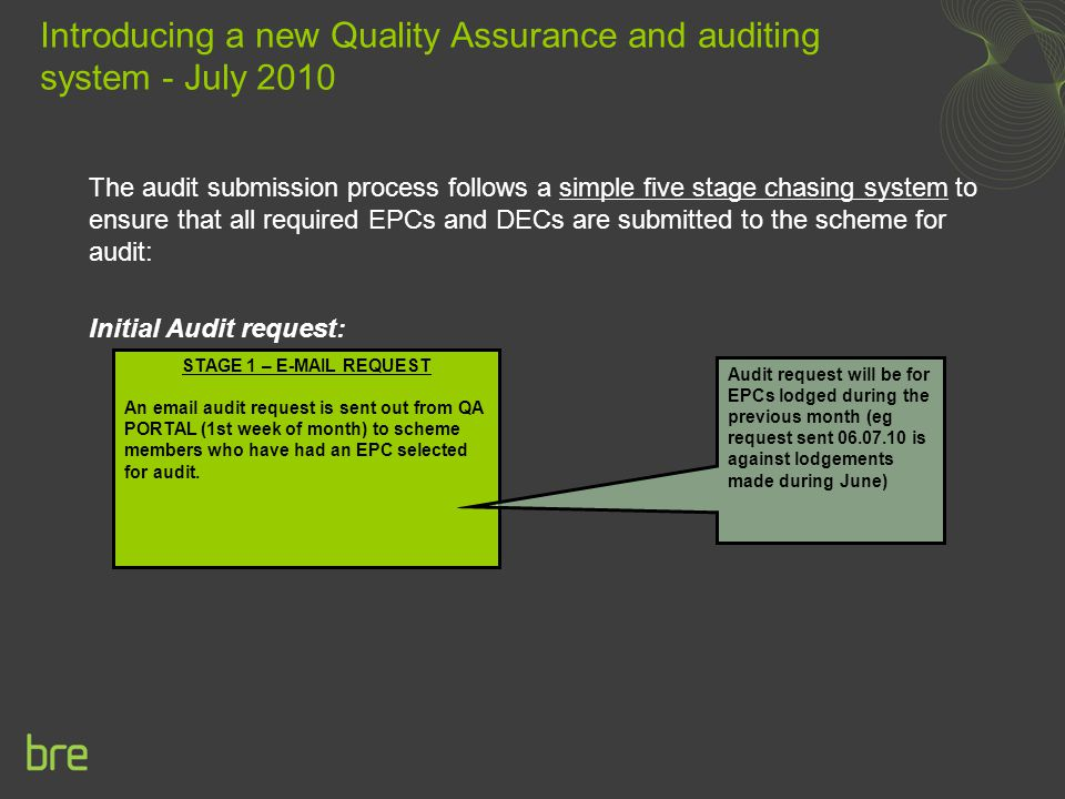 The audit submission process follows a simple five stage chasing system to ensure that all required EPCs and DECs are submitted to the scheme for audit: Initial Audit request: Introducing a new Quality Assurance and auditing system - July 2010 STAGE 1 – E-MAIL REQUEST An email audit request is sent out from QA PORTAL (1st week of month) to scheme members who have had an EPC selected for audit.