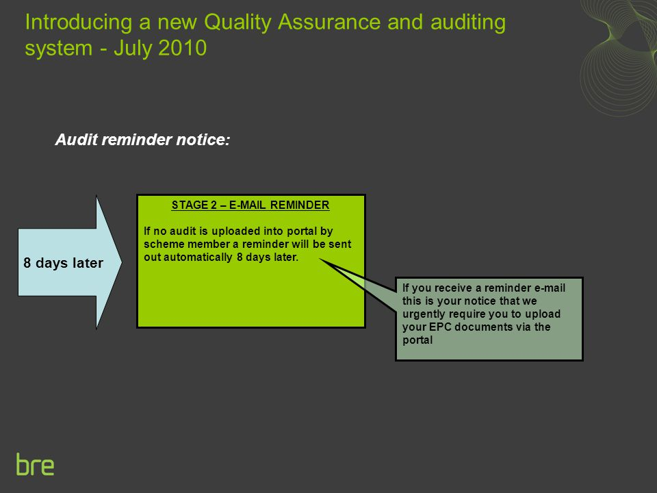 Audit reminder notice: Introducing a new Quality Assurance and auditing system - July 2010 STAGE 2 – E-MAIL REMINDER If no audit is uploaded into portal by scheme member a reminder will be sent out automatically 8 days later.